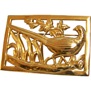 Coro Sterling Gold plated Pheasant Brooch