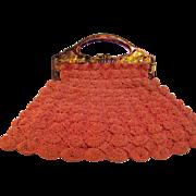 Crochet purse with bakelite Handle Homemade