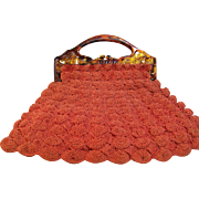 Crochet purse with bakelite Handle Homemade