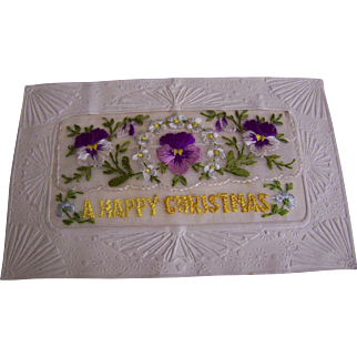 WWI Christmas Card Embroidered with Flowers France