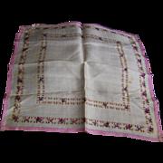 Silk Handkerchief Floral Pattern France WWI