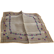 Silk Handkerchief Floral Pattern France WWI