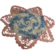 Crochet Doily Blue pink Cream star