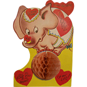 Valentine Card Honeycomb Large Elephant on a ball