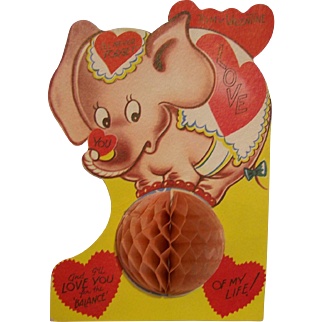 Valentine Card Honeycomb Large Elephant on a ball