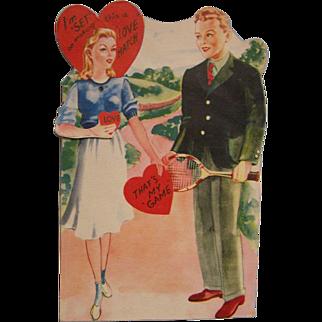 Large Mechanical Valentine Card Tennis Moving Arm