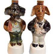 Political Decanters  Elephant Donkey Set of 2 1960
