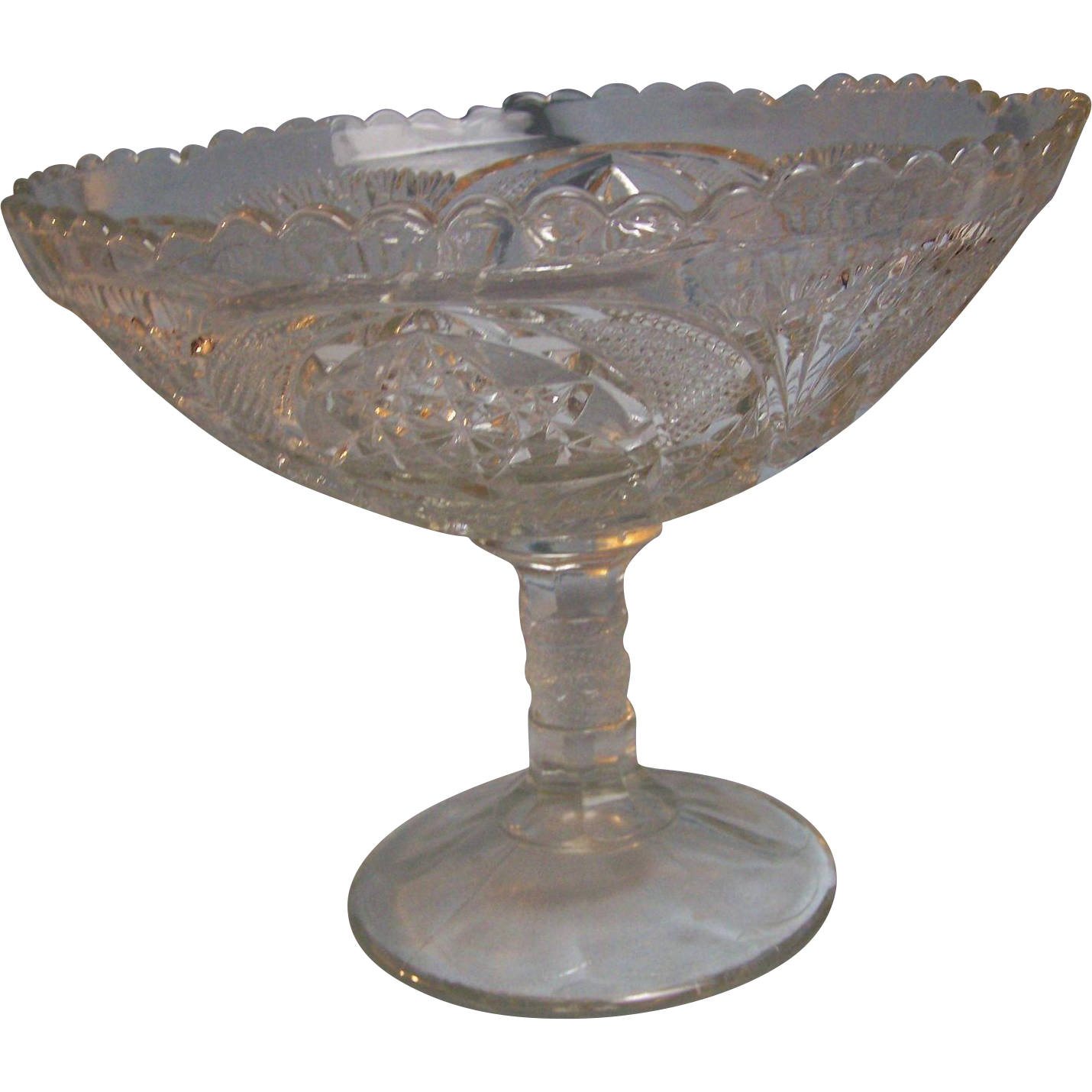 Press Glass Extra Large Compote