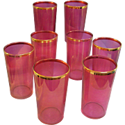 Cranberry Gold Trim Tumblers Set of 8