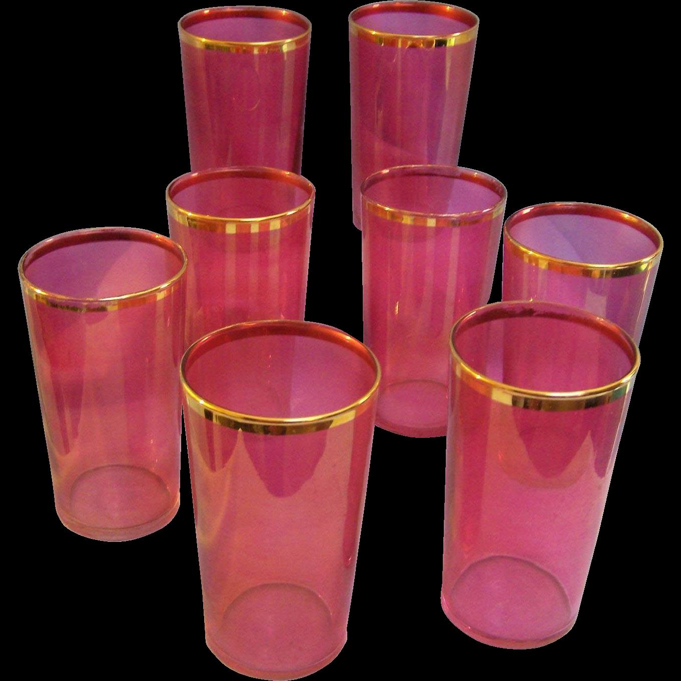Cranberry Gold Trim Tumblers Set of 8