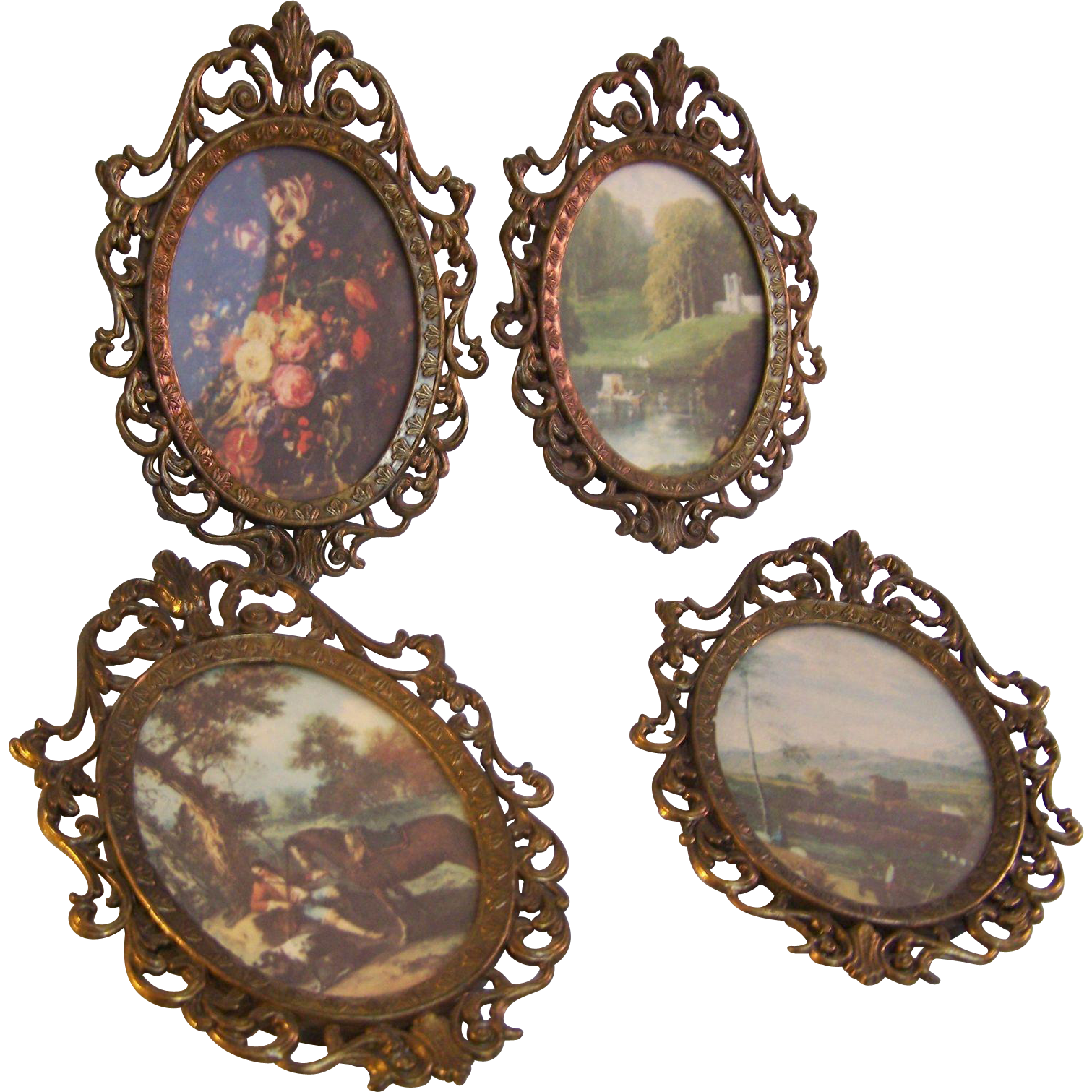 Italian Oval Framed Pictures
