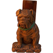 Syroco Wood Bull Dog Brush Holder with Clothes Brush