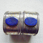 Pair of .800 Silver Cuff Bracelets from Northern Pakistan, Lapis Cabochons