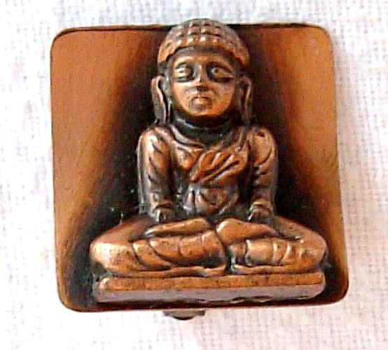 Meditating Buddha Copper Clip Earrings