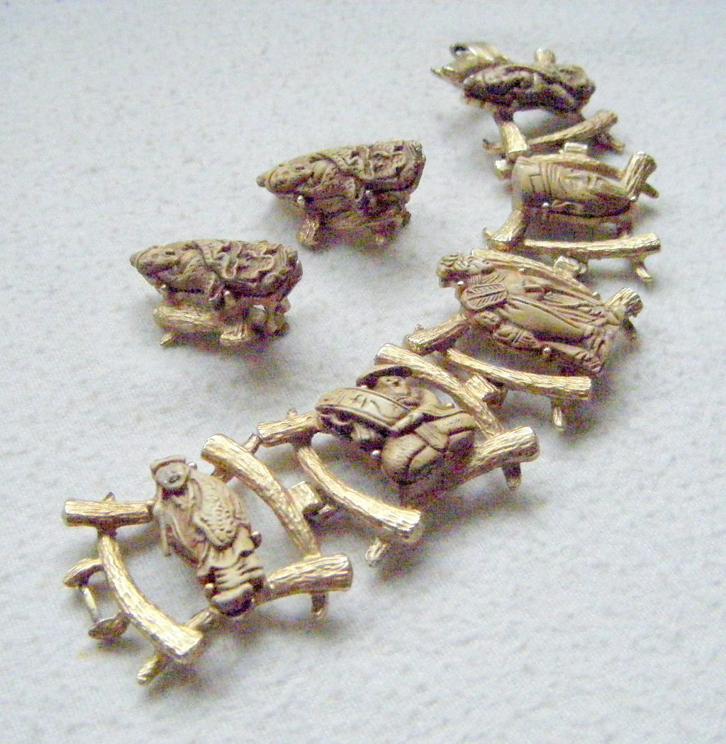 Colco Oriental Figures Faux Ivory Bracelet, Earrings