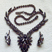 Very Elegant Juliana D & E Faux Haematite Japanned Necklace & Earrings