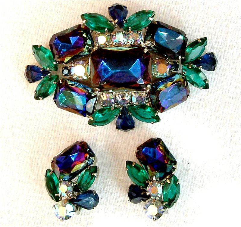Huge Watermelon Rhinestone Brooch & Clip Earrings, Peacock Colours