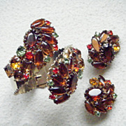 Huge Rhinestone Hinged Bracelet and Earrings, Autumn Colours