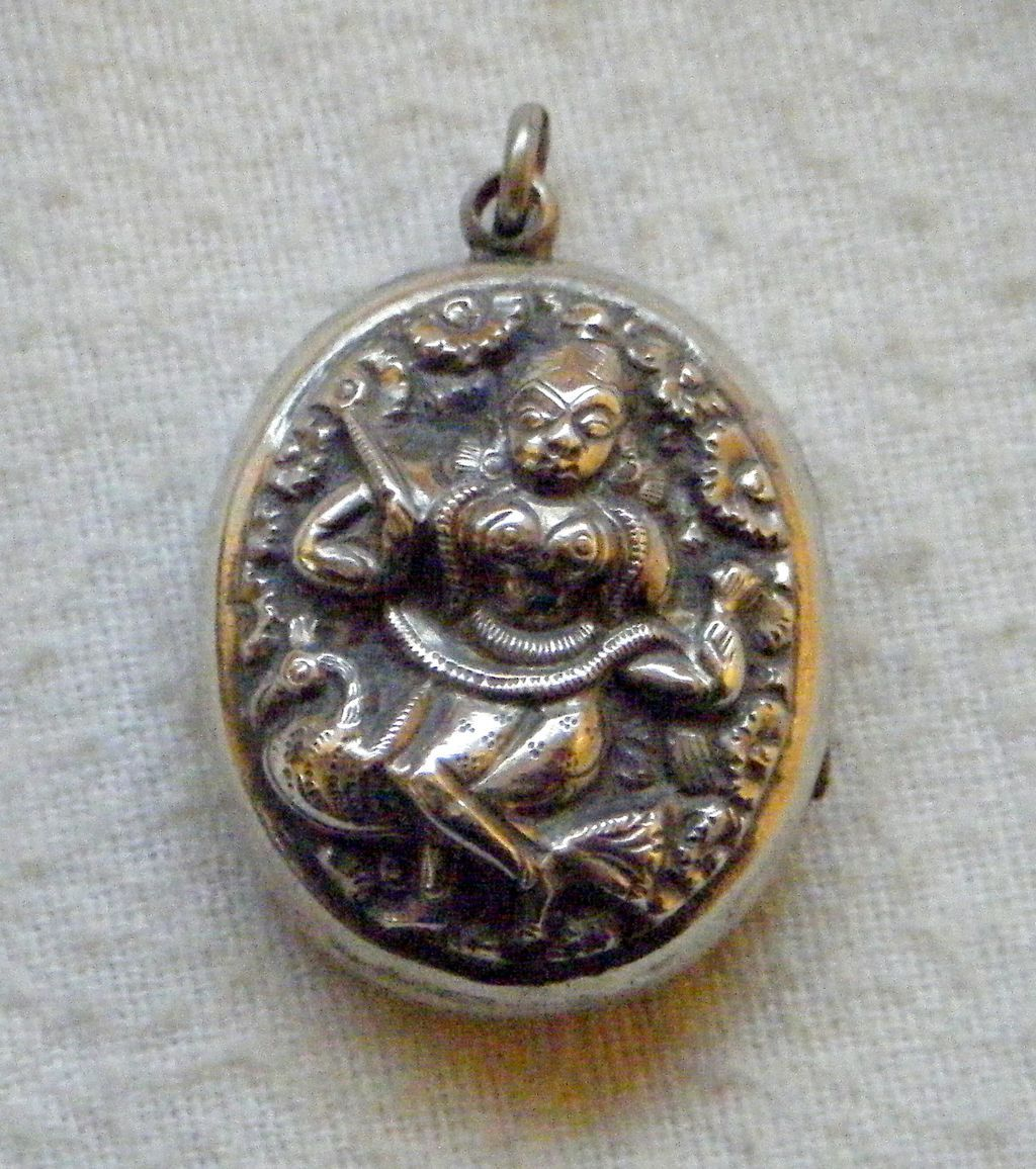 Swami Silver Victorian Anglo-Indian Locket Pendant, Embossed Indian Goddess