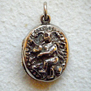 Swami Silver Victorian Anglo-Indian Double-Sided Locket, Embossed Indian Deities