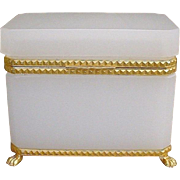 "Antique French White Opaline Casket Hinged Box  ""Exquisite Bronze Mounts & Paw Feet"""