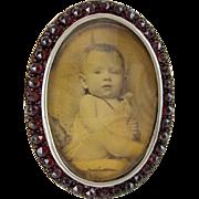 """Antique Oval Garnet Silver Frame """"EASEL STAND"""""""