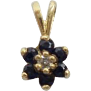 Vintage Estate 14K Sapphire and Diamond Flower Pendant 'A TINY TREASURE""