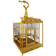 "Antique Chinese Ornate Bird Cage "" Craved Dragons , Monkey and Crab""  AWESOME Procelain Feeders"