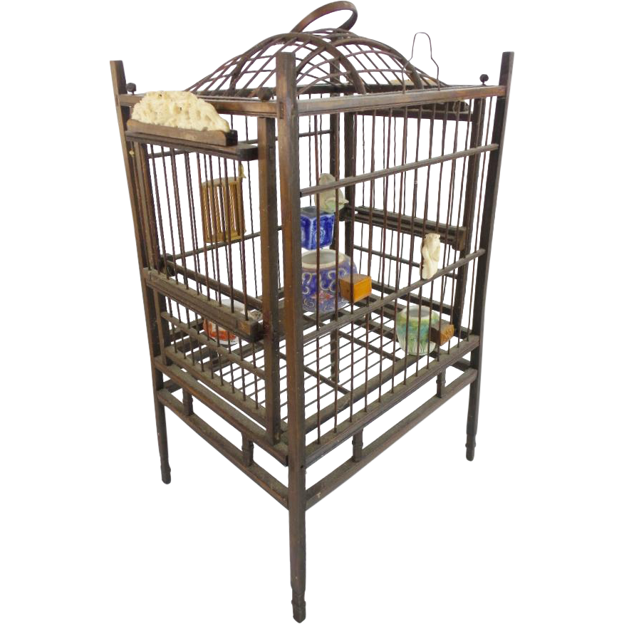 """Antique Chinese Ornate Bird Cage """" Porcelain Feeders/ Waters, Carved Bone Monkey &  Carved Bone Figures""""  Dragon Plaque"""