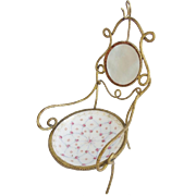 Antique Mother of Pearl & Porcelain Watch Holder Jewelry  Chair
