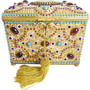 "LAYAWAY Austrian Jeweled  Bronze Enamel Plaque Casket Hinged Box ""GRANDEST &  EXQUISITE"""
