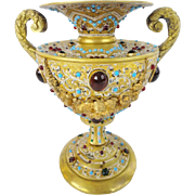 "Glorious Austrian Jeweled  Bronze Double Handle Enamel Urn ""A MASTERPIECE"""