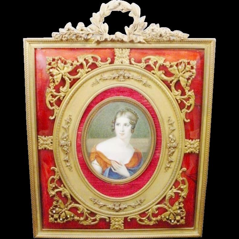 "Antique 10"" Hand Painted Portrait Miniature ""Red Enamel Bronze Jeweled Frame"""