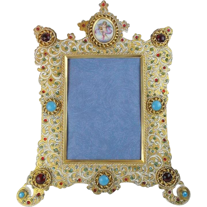 "LAYAWAY Majestic Antique French Jeweled Enamel Mirror Picture Frame ""WINGED CHERUB"" Enamel Porcelain Plaque"