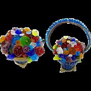 Magnificent RARE Czech Glass Flower Basket Lamp