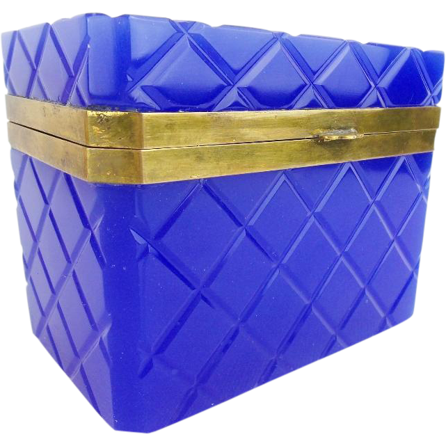 "Grandest Antique French Cobalt Opaline Casket  ""AWESOME COLOR"""
