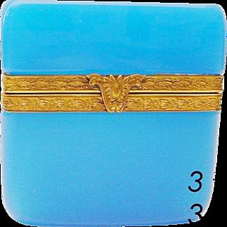"Antique French Opaline Hinged Box ""Fancy Gilt Mounts & Clasp""  FABULOUS BLUE"