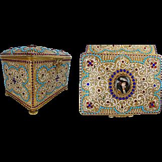 Magnificent Austrian Jeweled Bronze Enamel Plaque Casket Hinged Box