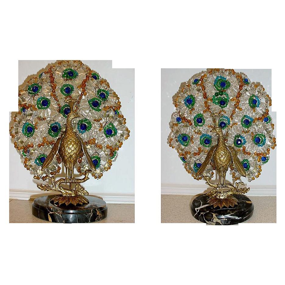 "Czechoslovakian Peacock Lamps "" A Devine Pair """