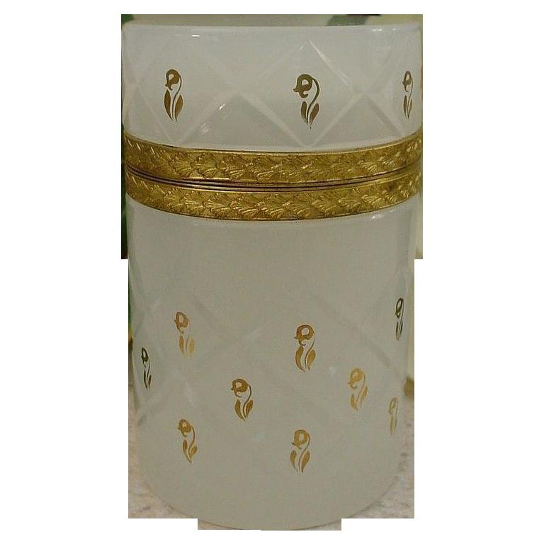 "French White Opaline Hinged Box Casket ""Rare Cross Cuts """