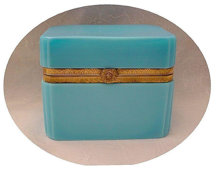 "Magnificent  Antique French Blue Opaline Casket ""Flower Clasp"""