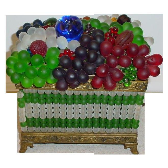 Grandest czech glass beaded fruit lamp sold ruby lane