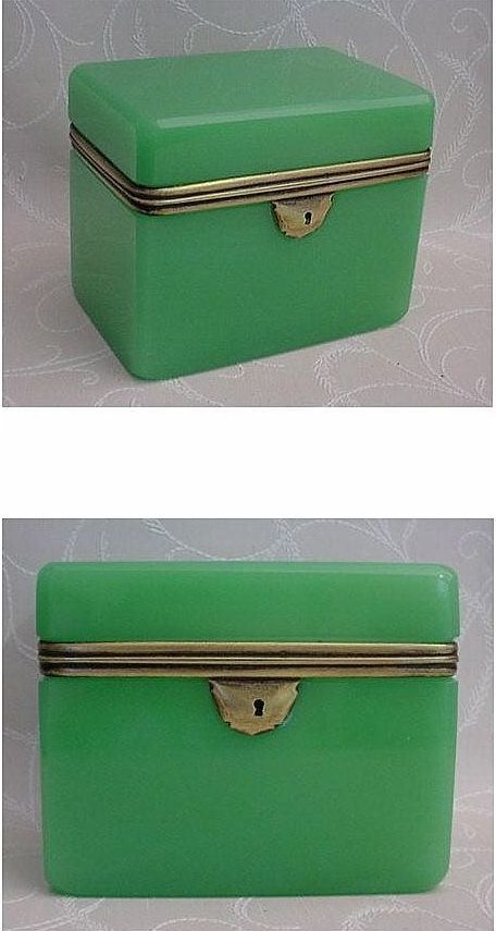Magnificent Antique  French Green Opaline Jewelry Casket
