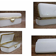 Antique French White Opaline Childs Glove Box
