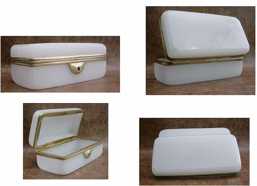 Antique French White Opaline Childs Glove Box