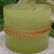 Luscious Antique French Green Hinged Opaline Box