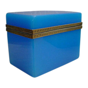 Glorious Antique  French Blue Opaline Casket