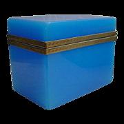 Glorious Antique  French Blue Opaline Casket