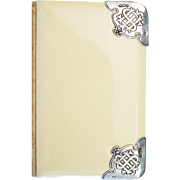 "Antique English Silver & Celluloid Book of Common Prayer  ""The Church of England"" with Ornate Silver Corners"