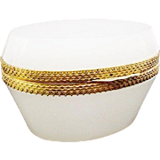 Antique White French Opaline Oval Casket  Hinged Box ~ Exquisite Mounts &  Lift Clasp.~ Beautiful Soft Oval Shape in Yummy White Opaline!
